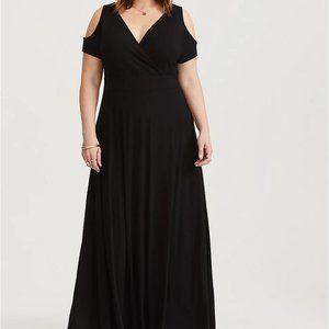 Torrid 1/2/3/4X Dress Black Maxi Cold Shoulder